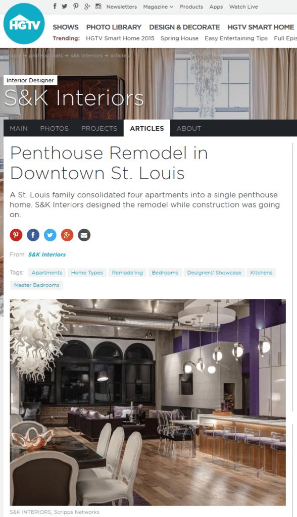 St Louis Interior Designers S K Interiors Recently Featured on HGTV  Designer s Showcase. HGTV Showcase  Penthouse Remodel   St Louis Interior Designers
